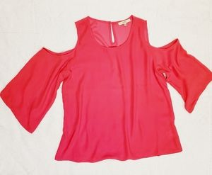 Lark & Ro Hot Pink Flowy Cold Shoulder Top